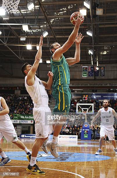 Anthony Petrie of the Boomers puts up a shot during the Men's FIBA Oceania Championship match between the Australian Boomers and the New Zealand Tall...