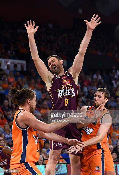 Anthony Petrie of the Bullets has the ball stripped from him during the round six NBL match between the Cairns Taipans and the Brisbane Bullets at...