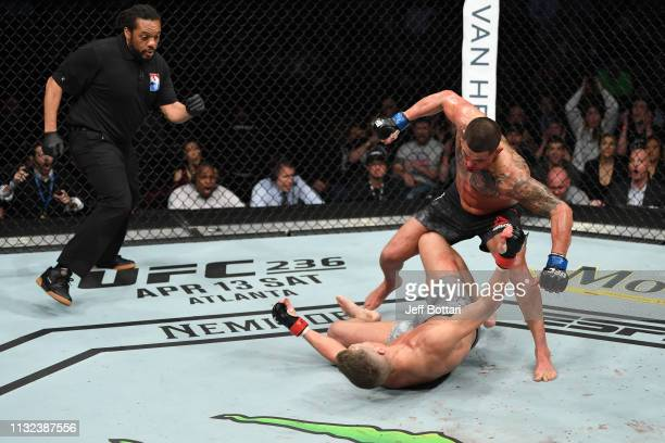 Anthony Pettis knocks out Stephen Thompson in their welterweight bout during the UFC Fight Night event at Bridgestone Arena on March 23 2019 in...