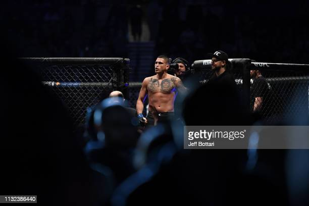 Anthony Pettis prepares to enter the Octagon prior to his welterweight bout against Stephen Thompson during the UFC Fight Night event at Bridgestone...