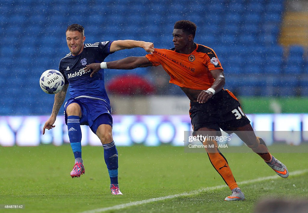 Anthony Pilkington of Cardiff City and Kortney Hause of Wolverhampton Wanderers during the Sky Bet Championship match between Cardiff City and Wolverhampton Wanderers at Cardiff City Stadium on August 22, 2015 in Cardiff, Wales.