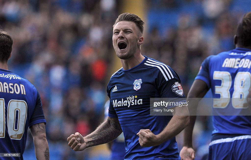 Anthony Pilkington of Cardiff City celebrates his sides first goal during the Sky Bet Championship match between Cardiff City and Huddersfield at Cardiff City Stadium on September 12, 2015 in Cardiff, Wales.