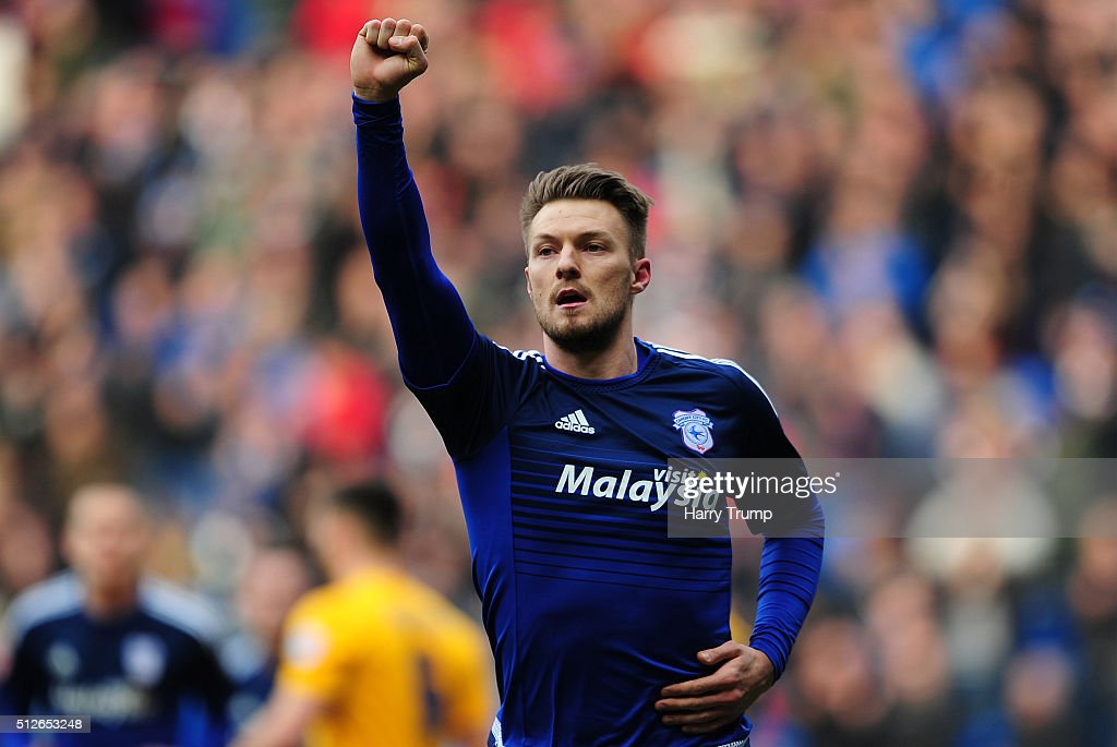 Anthony Pilkington of Cardiff City celebrates his sides first goal during the Sky Bet Championship match between Cardiff City and Preston North End at the Cardiff City Stadium on February 27, 2016 in Cardiff, Wales.