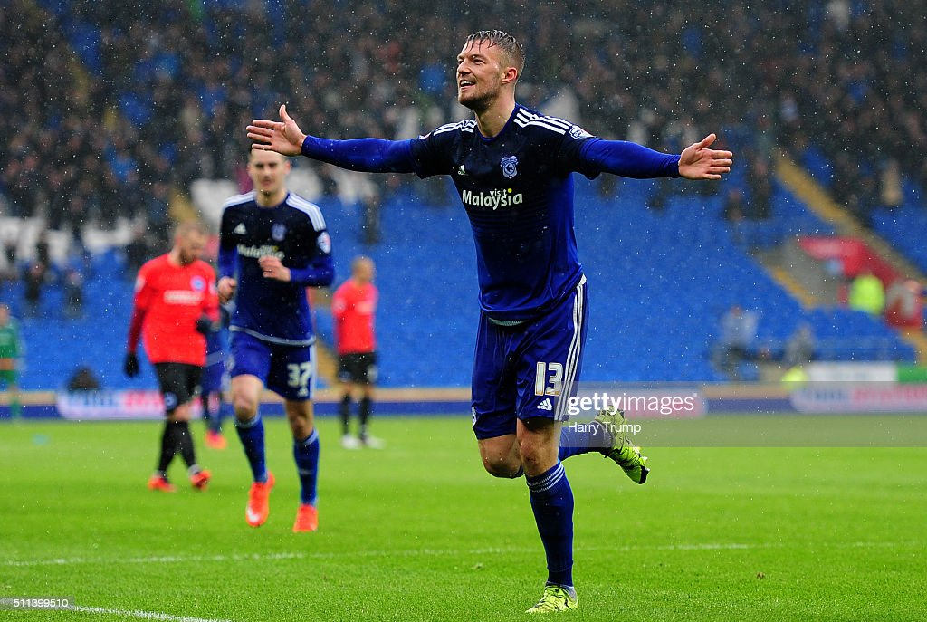 Anthony Pilkington of Cardiff City celebrates his sides second goal during the Sky Bet Championship match between Cardiff City and Brighton and Hove Albion at the Cardiff City Stadium on February 20, 2016 in Cardiff, Wales.