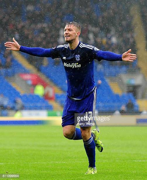 Anthony Pilkington of Cardiff City celebrates his sides second goal during the Sky Bet Championship match between Cardiff City and Brighton and Hove...