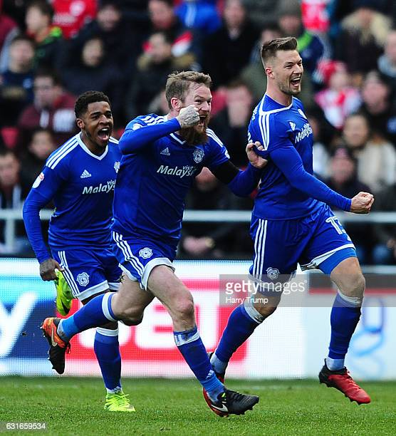 Anthony Pilkington of Cardiff City celebrates his sides third goal during the Sky Bet Championship match between Bristol City and Cardiff City at...