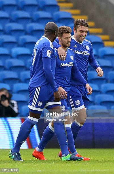 Anthony Pilkington of Cardiff City celebrates scoring his sides first goal of the match after his shot deflected off the wall sending goalkeeper...