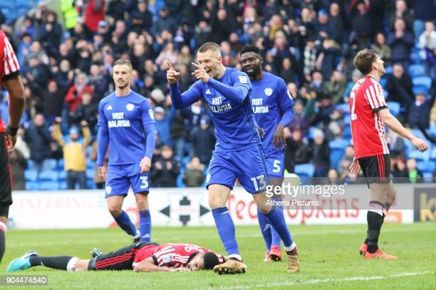 Anthony Pilkington of Cardiff City celebrates scoring his sides fourth goal of the match during the Sky Bet Championship match between Cardiff City...