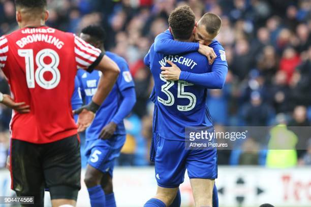 Anthony Pilkington of Cardiff City celebrates scoring his sides fourth goal of the match with Yanic Wildschut during the Sky Bet Championship match...