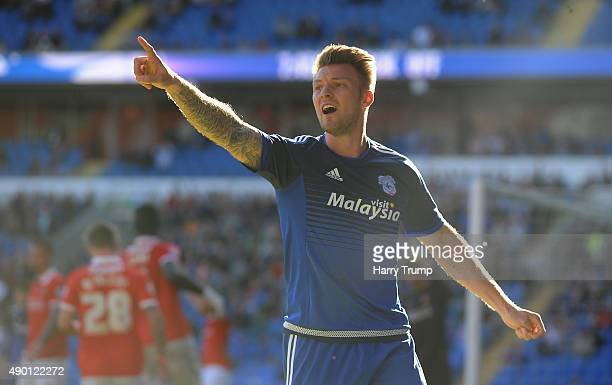 Anthony Pilkington of Cardiff City gestures to the linesman during the Sky Bet Championship match between Cardiff City and Charlton Athletic at the...