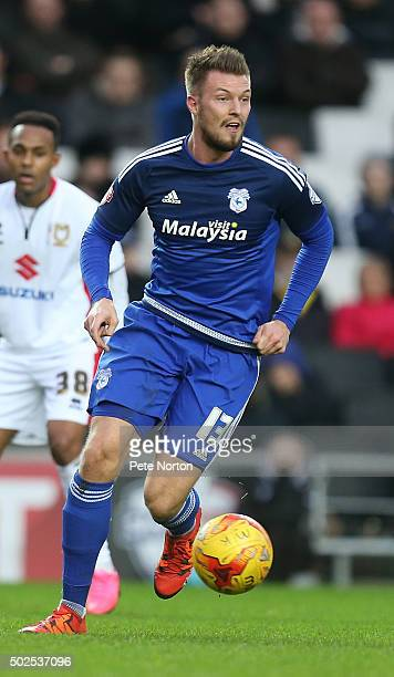Anthony Pilkington of Cardiff City in action during the Sky Bet Championship match between Milton Keynes Dons and Cardiff City at stadiummk on...