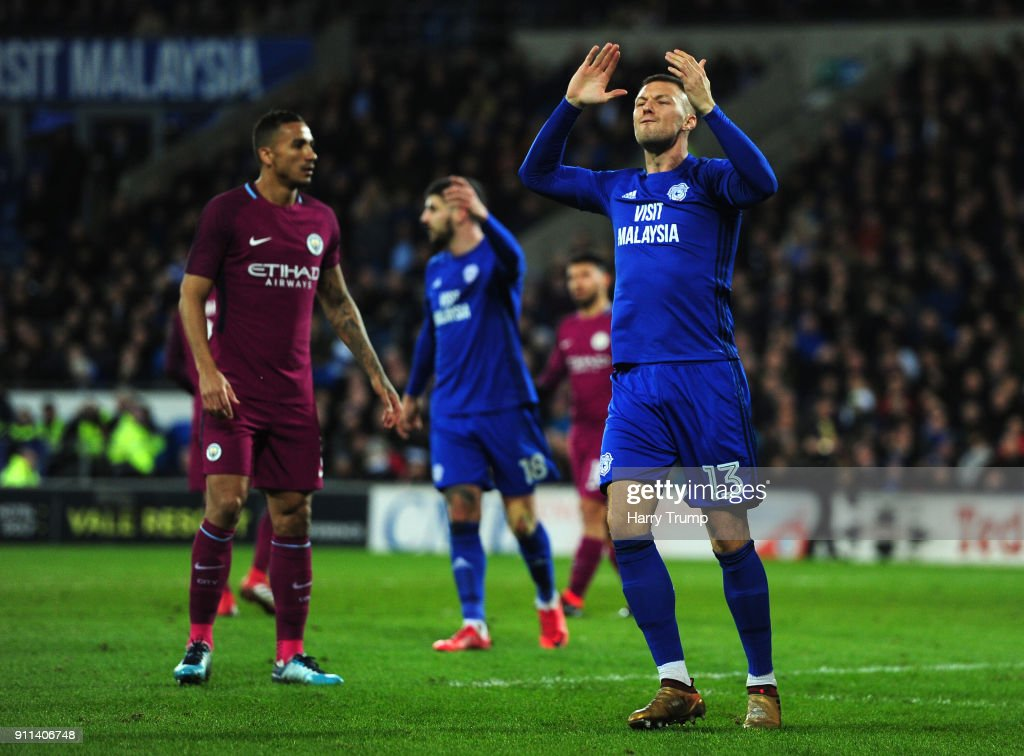 Anthony Pilkington of Cardiff City reacts during The Emirates FA Cup Fourth Round between Cardiff City and Manchester City on January 28, 2018 in Cardiff, United Kingdom.