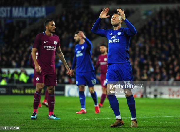 Anthony Pilkington of Cardiff City reacts during The Emirates FA Cup Fourth Round between Cardiff City and Manchester City on January 28 2018 in...
