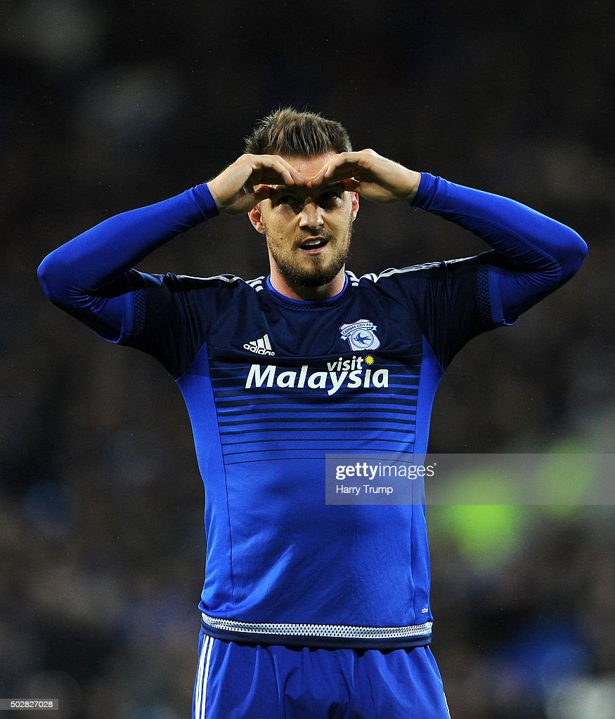 Anthony Pilkington of Cardiff City reacts during the Sky Bet Championship match between Cardiff City and Nottingham Forest at the Cardiff City Stadium on December 29, 2015 in Cardiff, Wales.