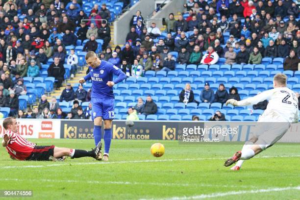 Anthony Pilkington of Cardiff City scores his sides fourth goal of the match during the Sky Bet Championship match between Cardiff City and...