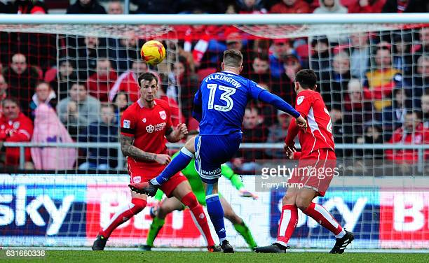 Anthony Pilkington of Cardiff City scores his side's third and winning goal during the Sky Bet Championship match between Bristol City and Cardiff...