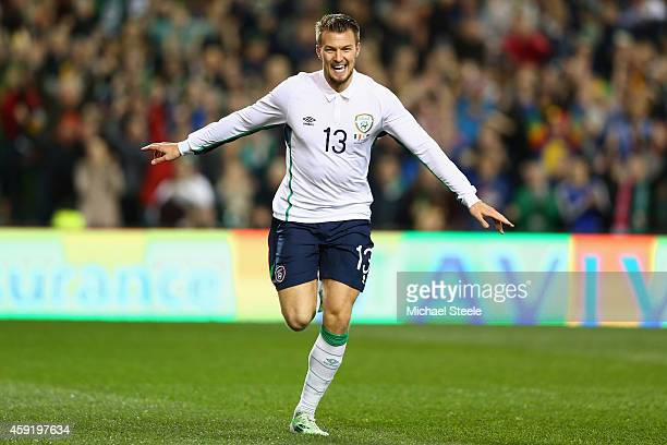 Anthony Pilkington of Ireland celebrates scoring his sides opening goal during the International Friendly match between the Republic of Ireland and...