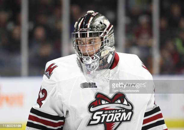 Anthony Popovich of the Guelph Storm during the first period during OHL game action against the London Knights at Budweiser Gardens on February 13...