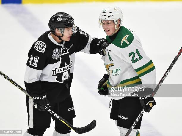 Anthony Poulin of the BlainvilleBoisbriand Armada grabs a hold of Maxence Guenette of the ValdOr Foreurs during the QMJHL game at Centre d'Excellence...
