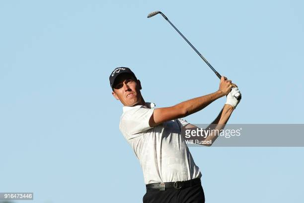 Anthony Quayle of Australia plays his second shot on the 2nd play off knockout 18th hole during day three of the World Super 6 at Lake Karrinyup...