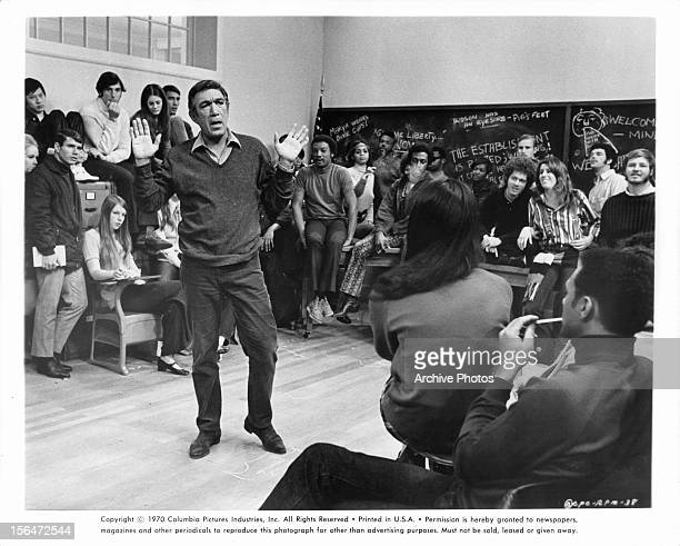 Anthony Quinn addresses a group of students in a scene from the film 'RPM' 1970