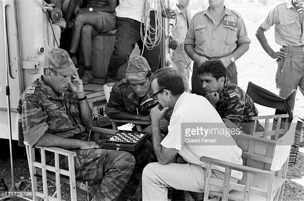 Anthony Quinn and Alain Delon during a break in the filming of the movie 'Los Centuriones' directed by Mark Robson Almeria Spain