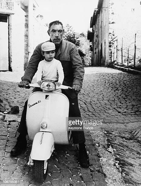 Anthony Quinn And His Son Lorenzo Driving A Vespa Scooter 1968
