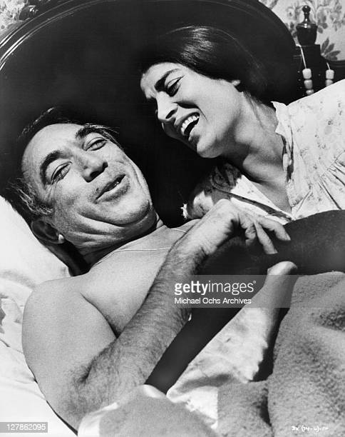 Anthony Quinn and Irene Papas having a happy moment in a scene from the film 'A Dream of Kings' 1969