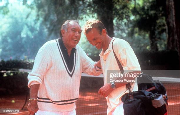 Anthony Quinn and Kevin Costner in a scene from the film 'Revenge' 1990