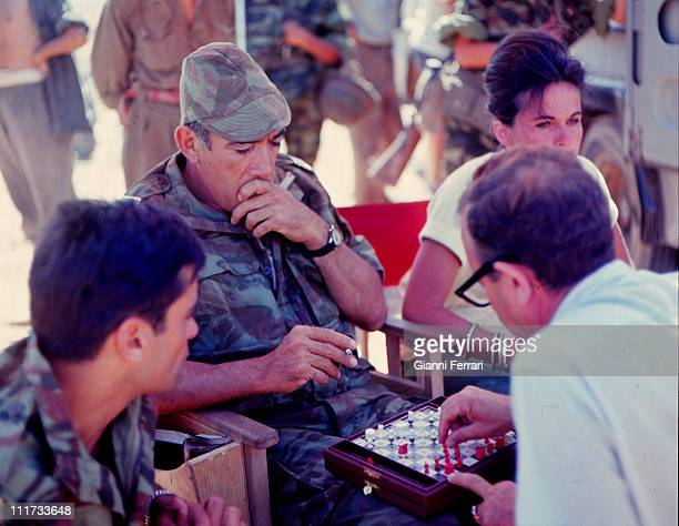 Anthony Quinn during a break in the filming of the movie 'Los centuriones' directed by Mark Robson Almeria Spain