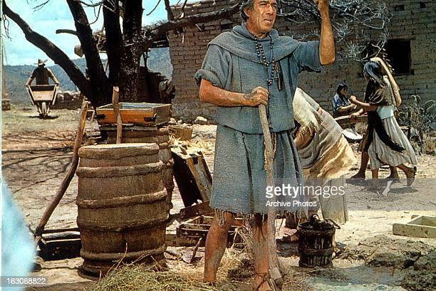 Anthony Quinn holds a staff in a scene from the film 'Guns For San Sebastian' 1968