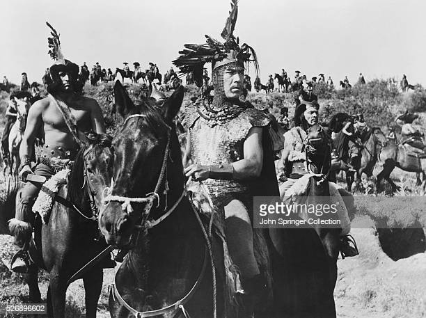 Anthony Quinn stars as Attila the Hun in a battle scene from the 1954 motion picture Attila
