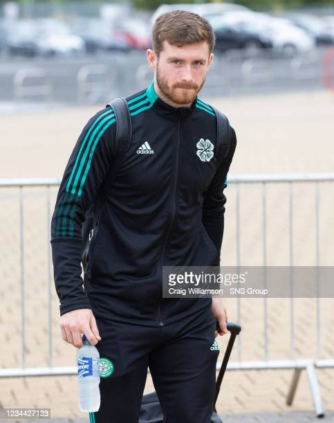 Anthony Ralston is pictured as Celtic depart for their Europa League tie against Jablonec, at Celtic Park, on August 03 in Glasgow, Scotland.