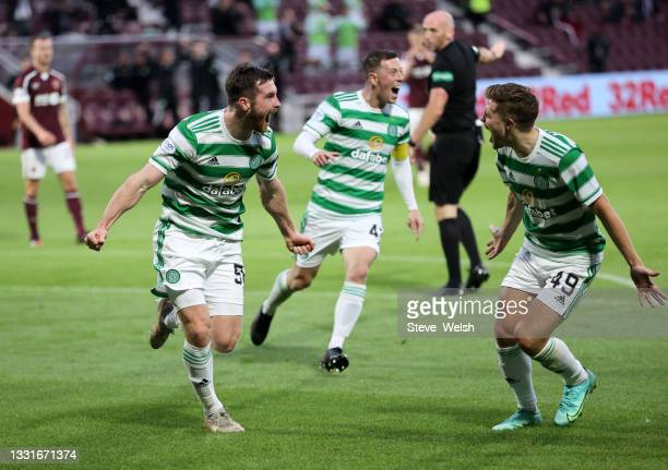 Anthony Ralston of Celtic celebrates scoring his team's first goal during the Ladbrokes Scottish Premiership match between Heart of Midlothian and...