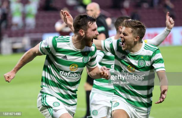Anthony Ralston of Celtic celebrates with teammate James Forrest after scoring his team's first goal during the Ladbrokes Scottish Premiership match...