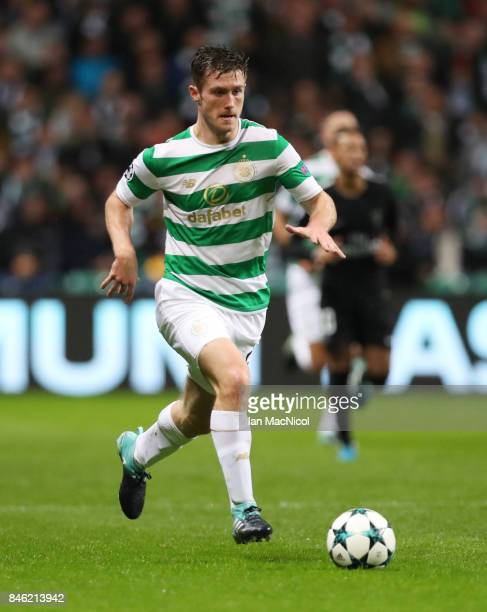 Anthony Ralston of Celtic controls the ball during the UEFA Champions League Group B match Between Celtic and Paris SaintGermain at Celtic Park on...