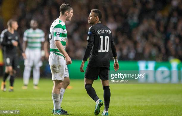 Anthony Ralston of Celtic has words with Neymar of Paris Saint Germain during the UEFA Champions League Match between Celtic and Paris Saint Germain...