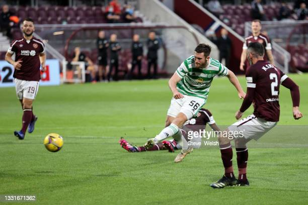 Anthony Ralston of Celtic scores his team's first goal during the Ladbrokes Scottish Premiership match between Heart of Midlothian and Celtic at...