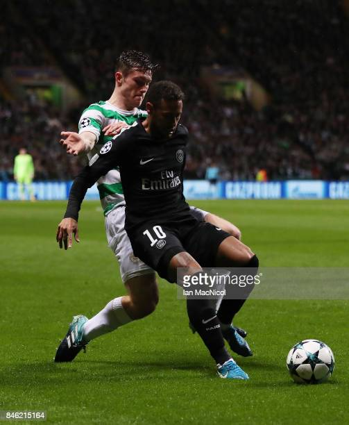 Anthony Ralston of Celtic vies with Neymar of Paris SaintGermain during the UEFA Champions League Group B match Between Celtic and Paris SaintGermain...