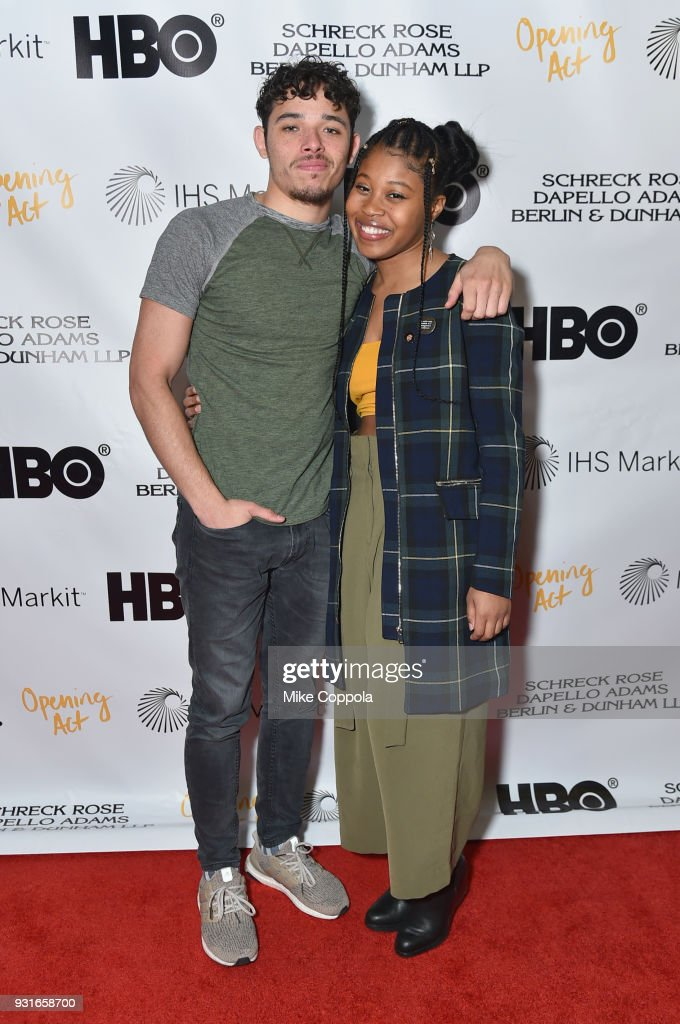 Anthony Ramos and Dominique Fishback attend Opening Act's 12th Annual Benefit Play Reading 'Hear Me Here' At New World Stages on March 13, 2018 in New York City.