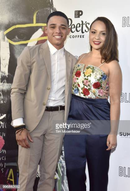 Anthony Ramos and Jasmine Cehpas Jones attend the premiere of Summit Entertainment's 'Blindspotting' at The Grand Lake Theater on July 11 2018 in...