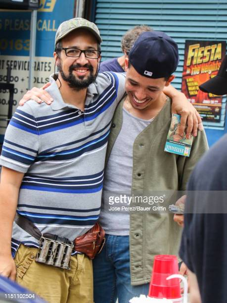 Anthony Ramos and LinManuel Miranda are seen on the film set of 'In the Heights' on June 20 2019 in New York City