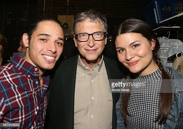 Anthony Ramos Bill Gates and Phillipa Soo pose backstage at the hit musical 'Hamilton' on Broadway at The Richard Rogers Theater on October 11 2015...