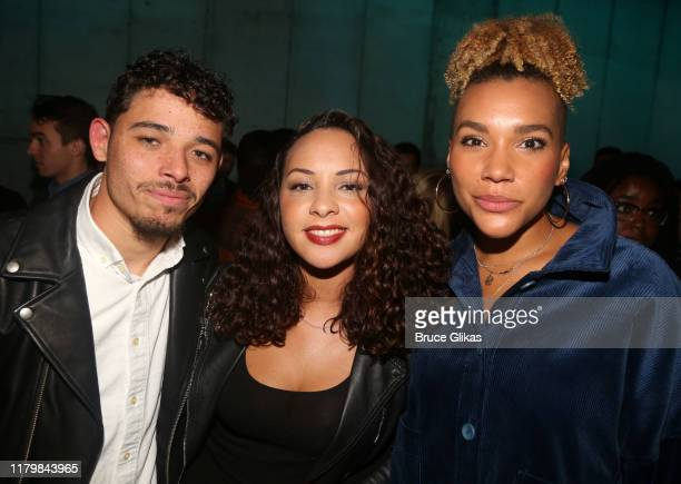 Anthony Ramos Jasmine Cephas Jones and Emmy RaverLampman pose at the opening night party for MCC Theater Company's production of the new musical The...
