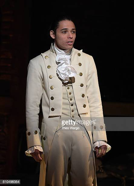 Anthony Ramos performs on stage during Hamilton GRAMMY performance for The 58th GRAMMY Awards at Richard Rodgers Theater on February 15 2016 in New...