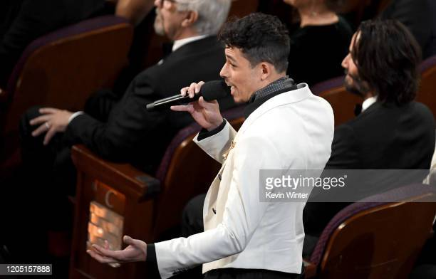 Anthony Ramos speaks during the 92nd Annual Academy Awards at Dolby Theatre on February 09 2020 in Hollywood California