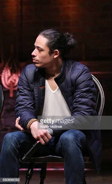 Anthony Ramos speaks to thirteen hundred students from New York City public schools gathered for a 'Hamilton' matinee performance on Broadway for the...