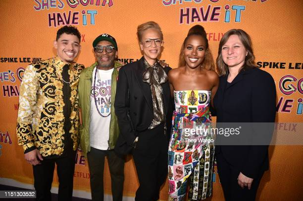 Anthony Ramos Spike Lee Tonya Lee Lewis DeWanda Wise and Cindy Holland attend the She's Gotta Have It Season 2 Premiere at Alamo Drafthouse on May 23...