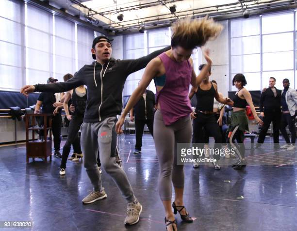 Anthony Ramos with cast during the Broadway Center Stage Rehearsal for 'In the Heights' on March 13 2018 at Baryshnikov Arts Center in New York City