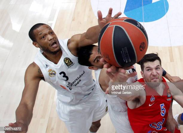 Anthony Randolph #3 and Gustavo Ayon #14 of Real Madrid competes with Alec Peters #5 of CSKA Moscow in action during the 2018/2019 Turkish Airlines...